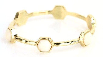 Gold Hexagon Bracelet - Ivory