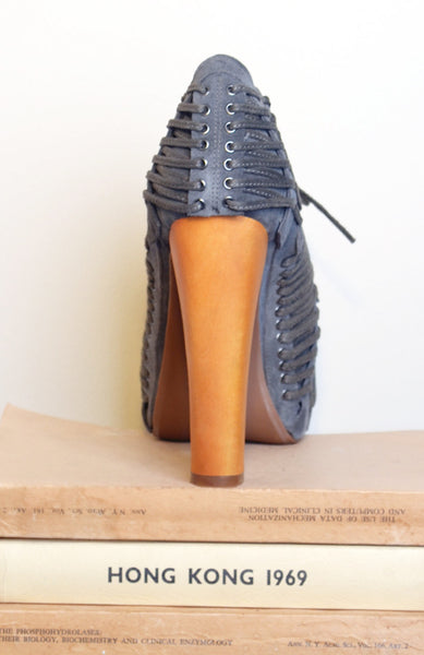 Laced Platform Booties - Grey