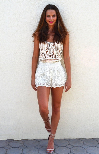 For Love and Lace Ivory Shorts