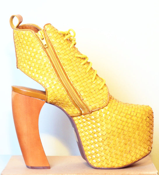 Lana Leather Platform Booties- Mustard
