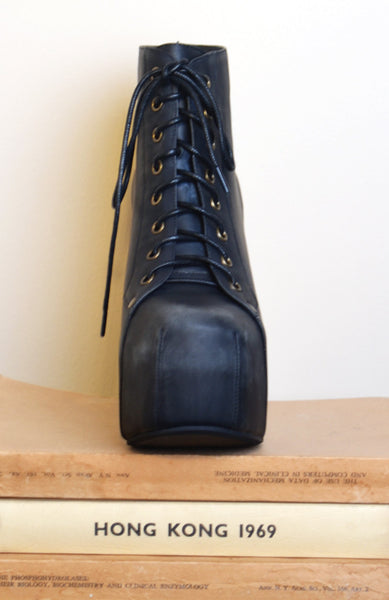 Lita Leather Platform Booties - Black