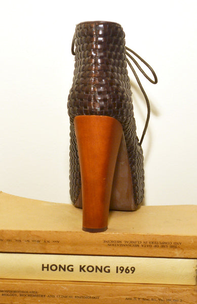 Lita Weave Leather Booties - Brown