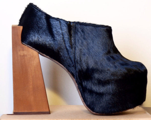 Locked Hair Platform Booties - Black