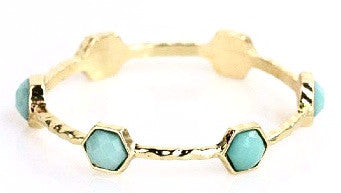 Gold Hexagon Bracelet - Mint