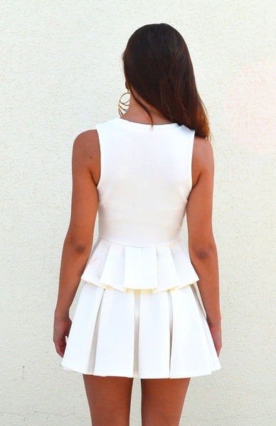 White Neoprene Pleats Skirt