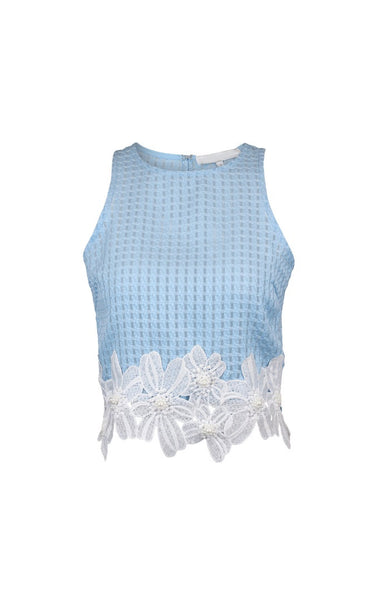 Pearly Gates Blue Lace Top