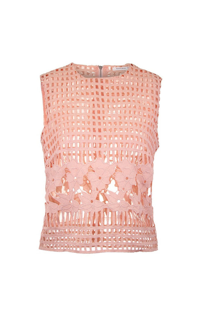 Pink Lattice Rootlet Top