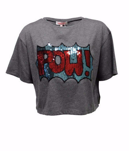 Pow Sequin Gray Crop Tee