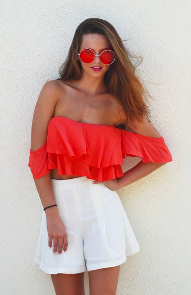 Ruffle ME Orange Off Shoulder Top