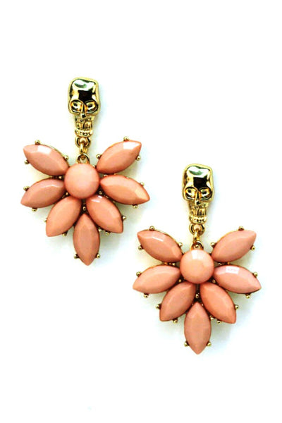 Blossoming Skull Earrings - Pink