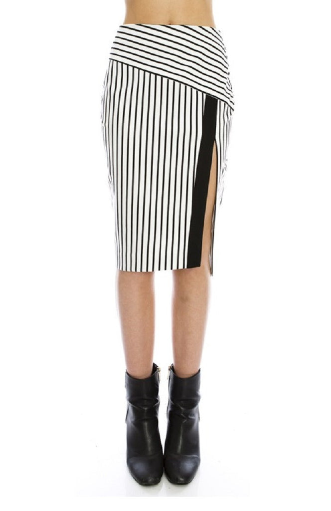 Major Striped Split Pencil Skirt