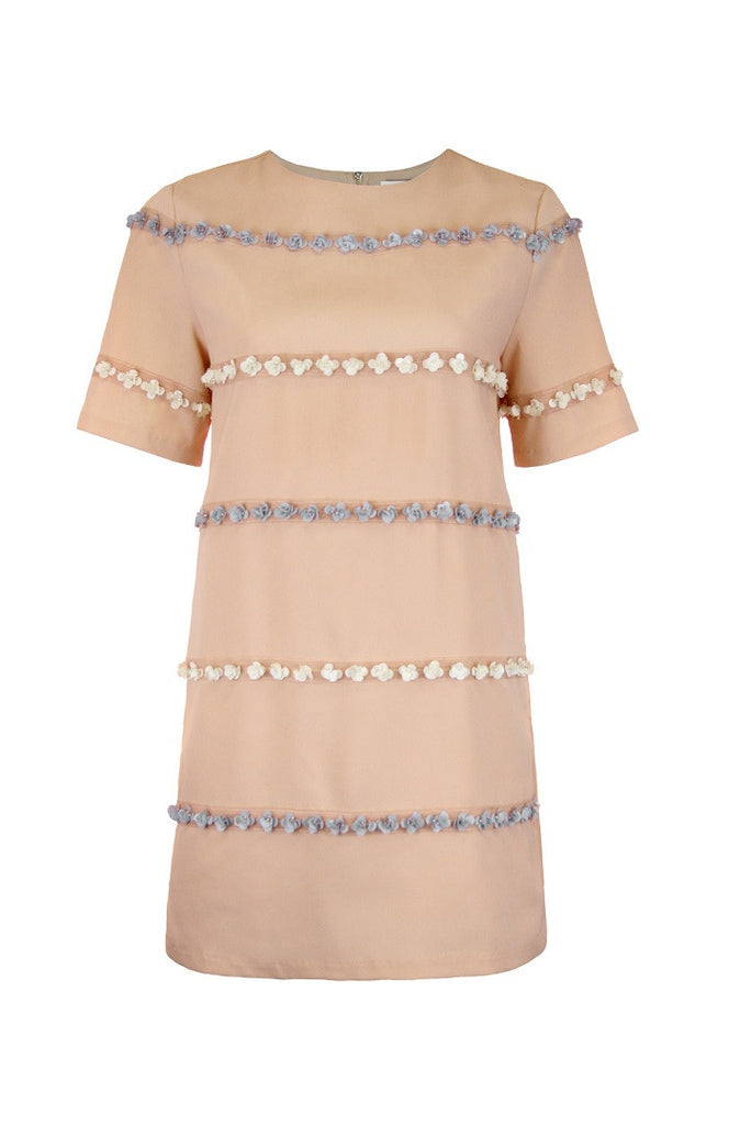 Summer Buds Blush Dress with Floral Appliqué