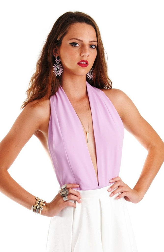 Lilac Plunge Neck Backless Bodysuit in Large