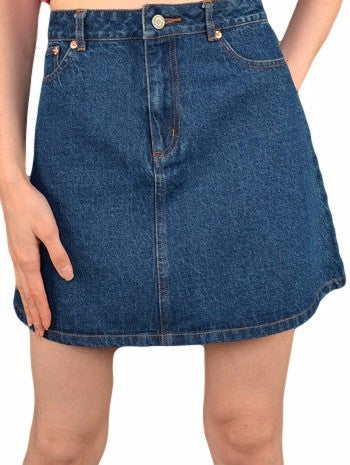 Shirley Dark Blue Denim A Line Skirt