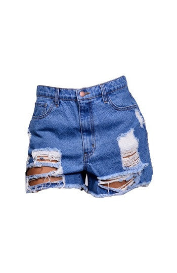 Distressed Denim Cutoff Shorts