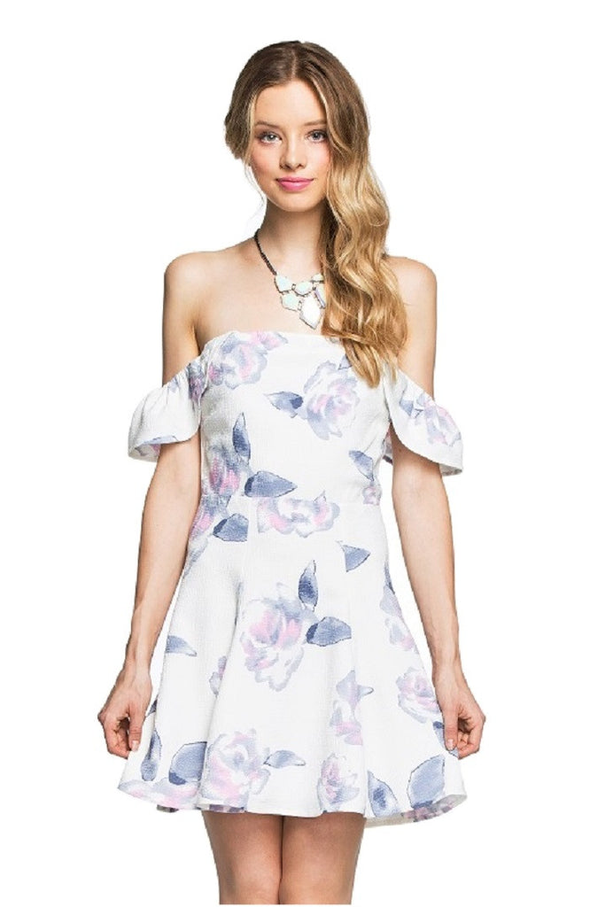 Lilly White Off Shoulder Floral Dress