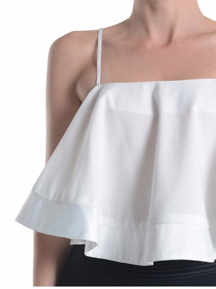 Flutter White Crop Top