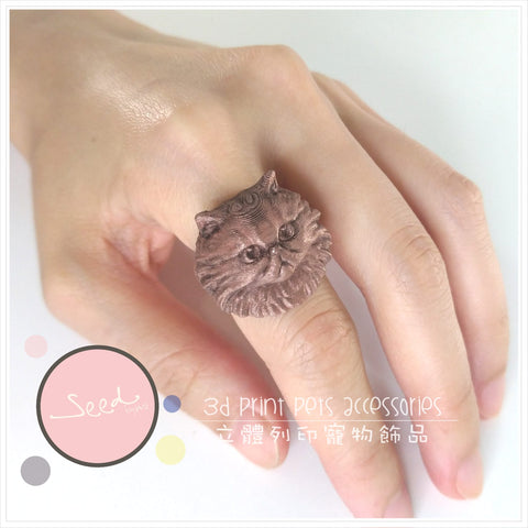 Persian Cat copperfill ring put on finger