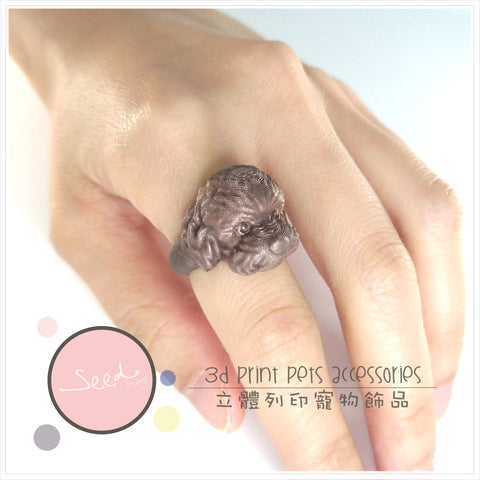 Poodle Copperfill ring put on finger
