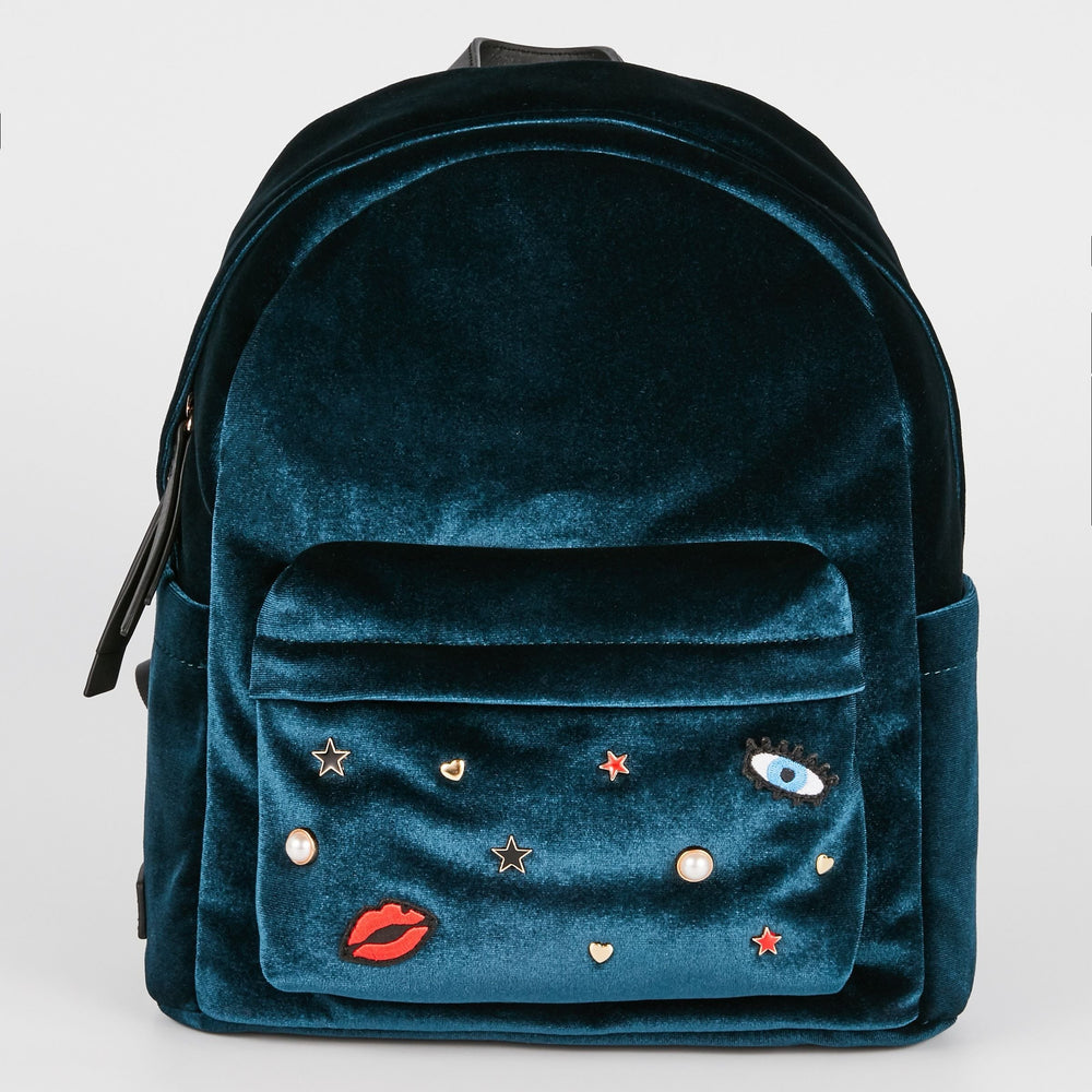 MAROQUINERIE - Sac A Dos Cosmic Love Velours Bleu Canard