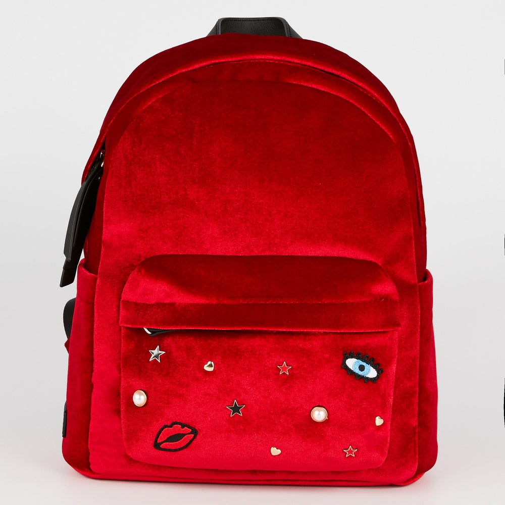 MAROQUINERIE - Sac A Dos Cosmic Love Velours Rouge