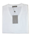 folded V-neck white T-shirt