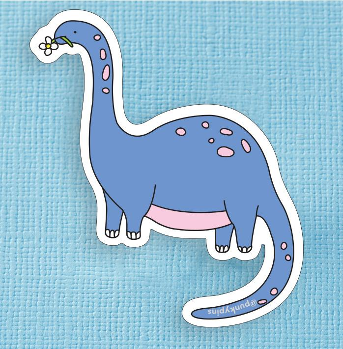 Blue Apatosaurus Dinosaur Large Vinyl Sticker