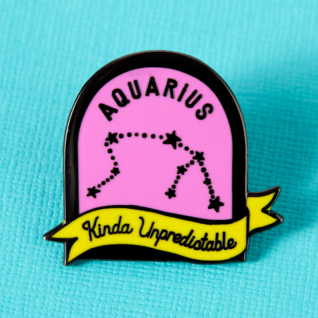 Aquarius Purple and Yellow Starsign Enamel Pin