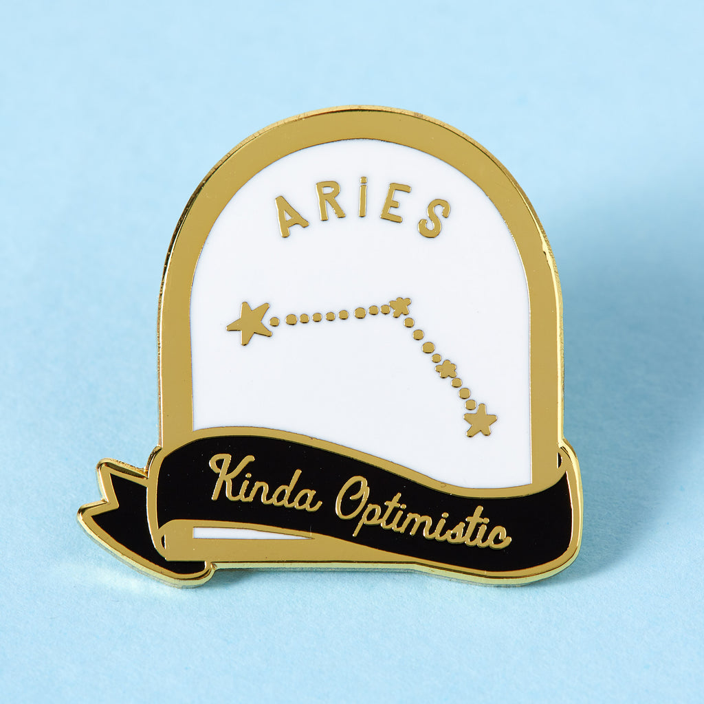 Aries Black and White Starsign Enamel Pin