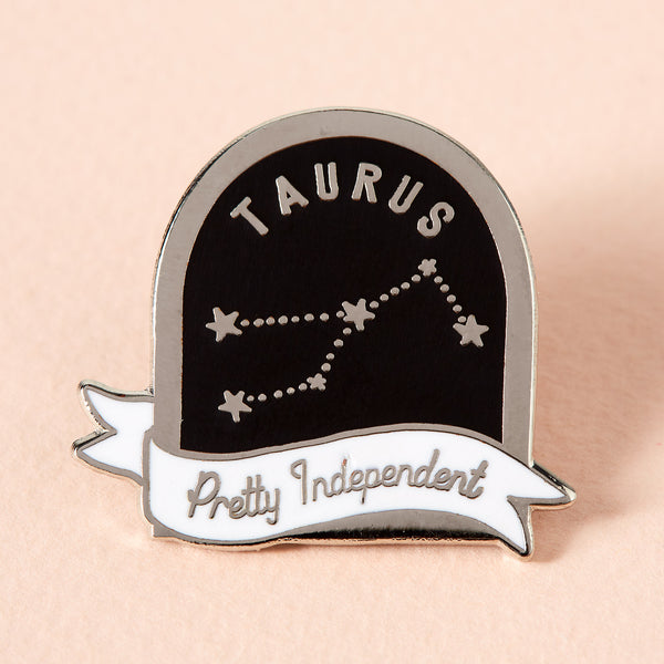 Taurus Black and White Starsign Enamel Pin