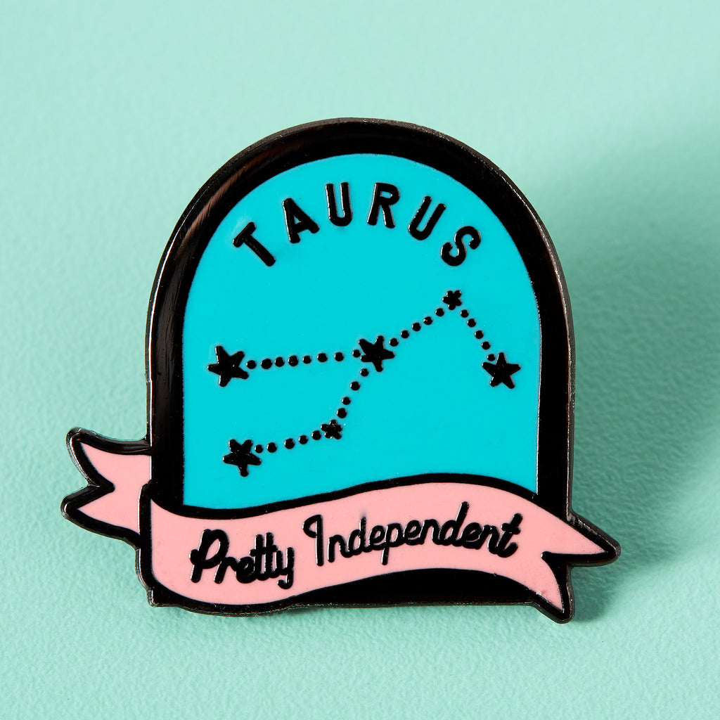 Taurus Blue and Pink Starsign Enamel Pin