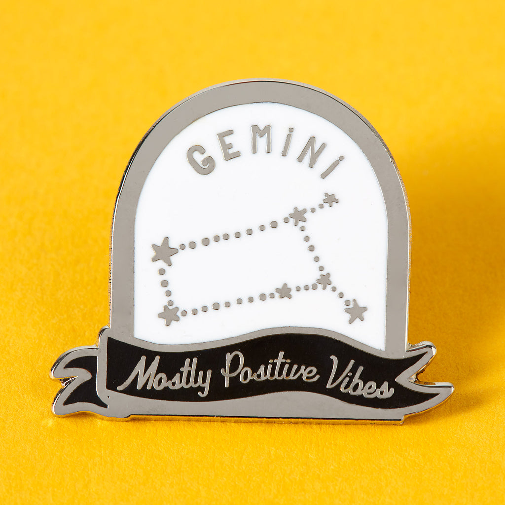 Gemini Black and White Starsign Enamel Pin