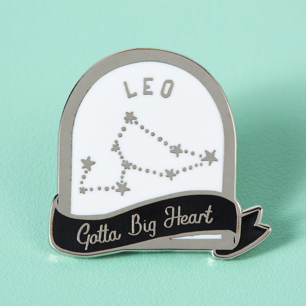 Leo Black and White Starsign Enamel Pin