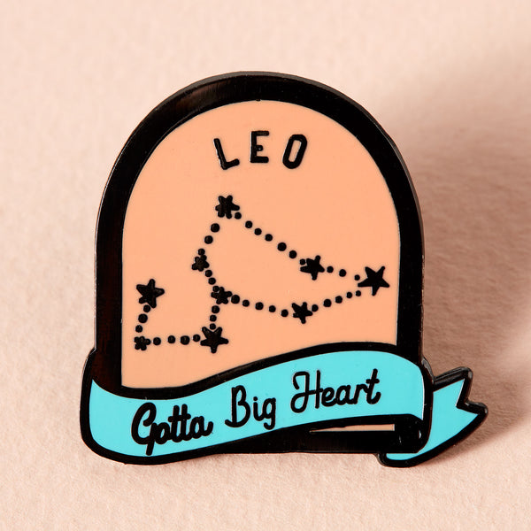 Leo Coral and Green Starsign Enamel Pin