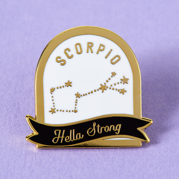 Scorpio Black and White Starsign Enamel Pin