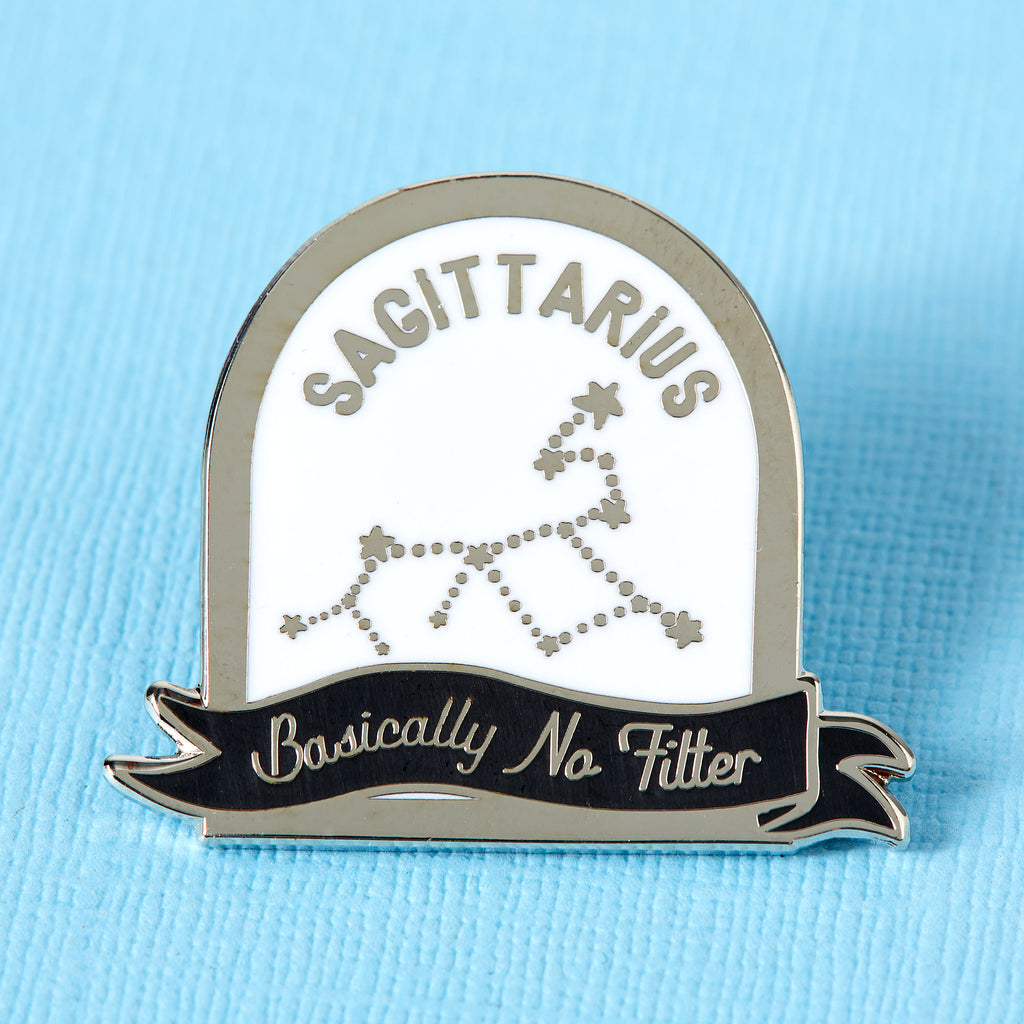 Sagittarius Black and White Starsign Enamel Pin