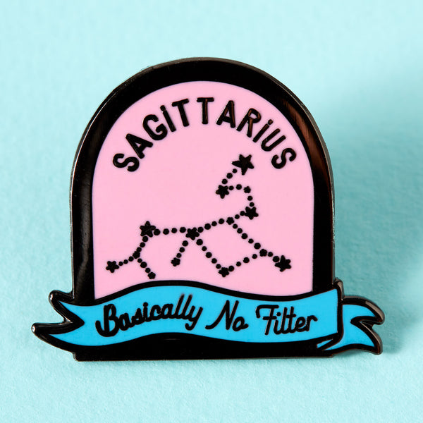 Sagittarius Pink and Blue Starsign Enamel Pin