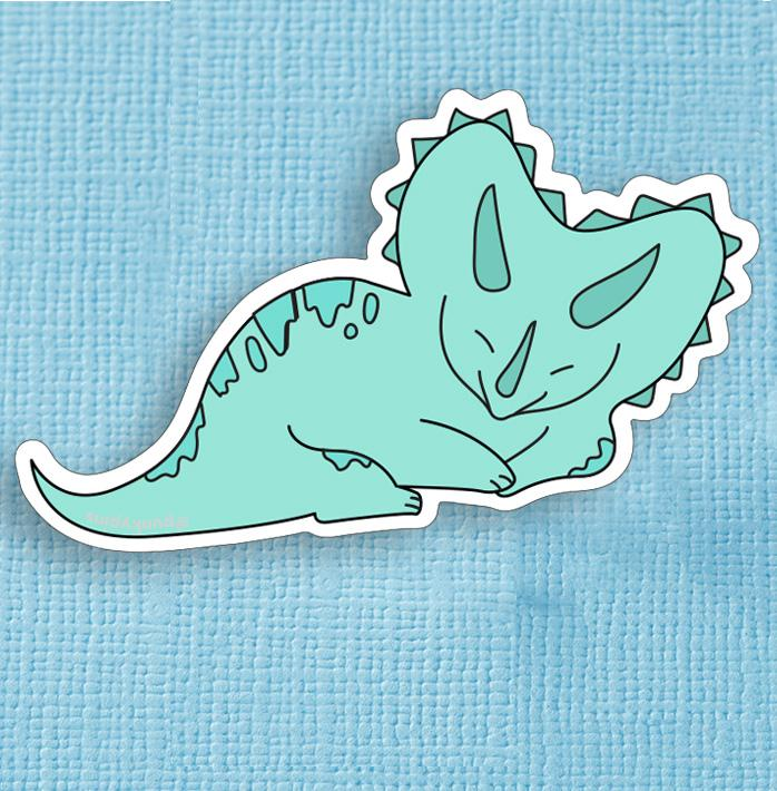 Green Triceratops Dinosaur Large Vinyl Sticker