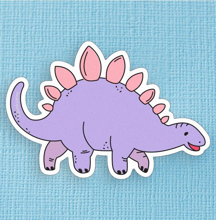 Pastel Lilac and Pink Stegosaurus Dinosaur Large Vinyl Sticker