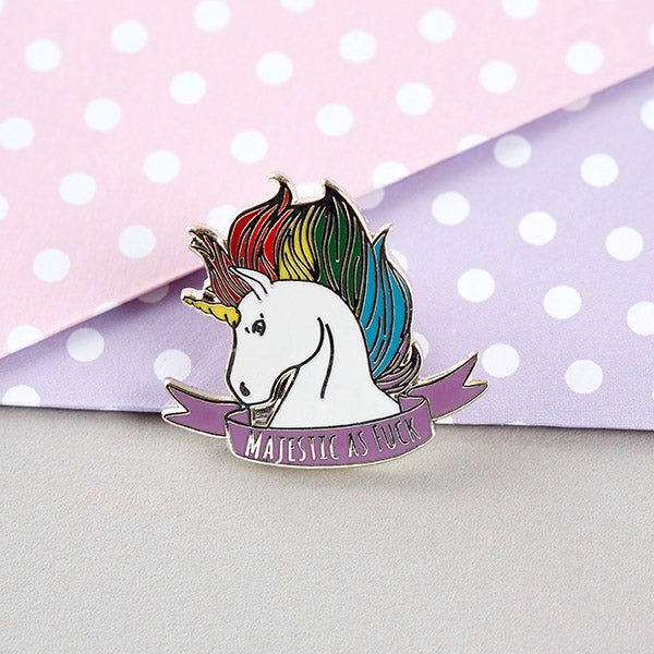 Majestic as Fuck Unicorn Enamel Pin