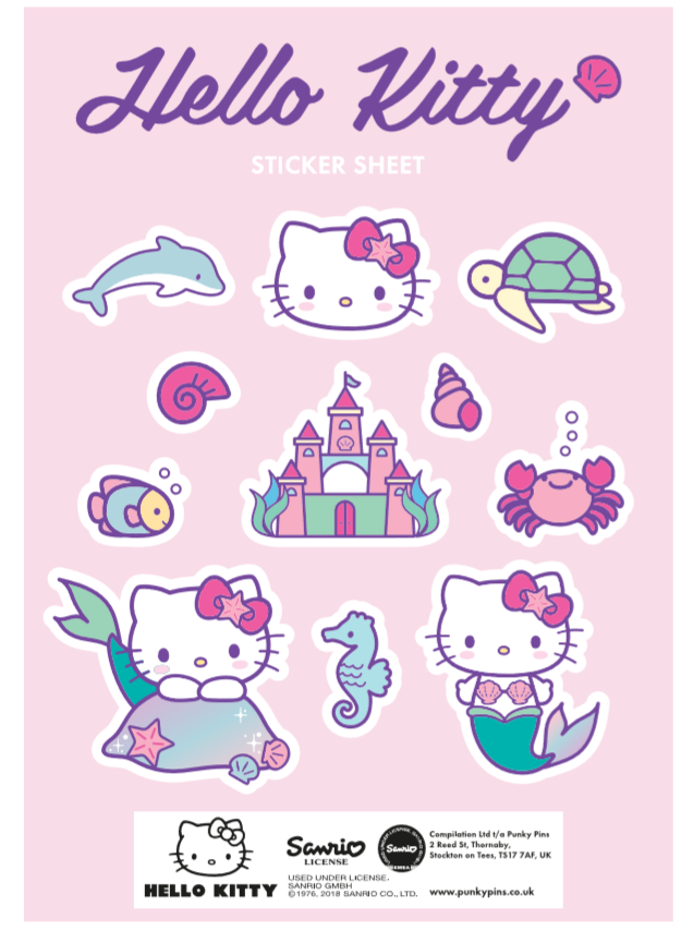 Hello Kitty Mermaid Sea Friends Sticker Sheet