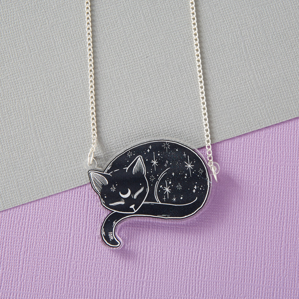 Mystical Cat Acrylic Necklace