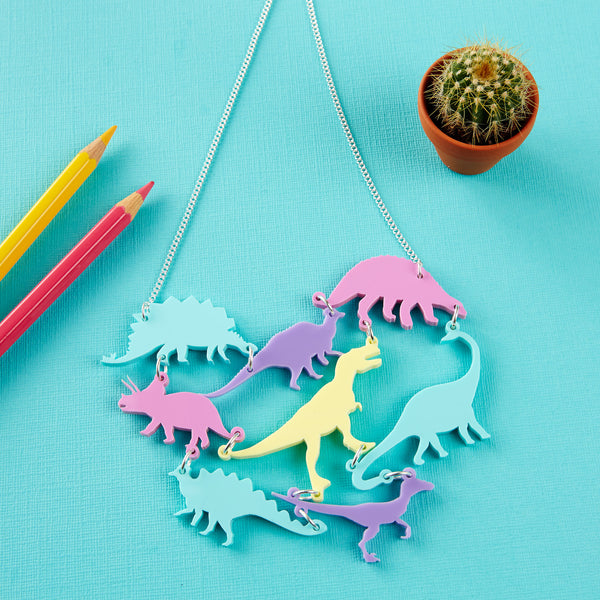 Pastel Dinosaur Gang Acrylic Necklace