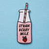 Strawberry Milk Embroidered Iron On Patch