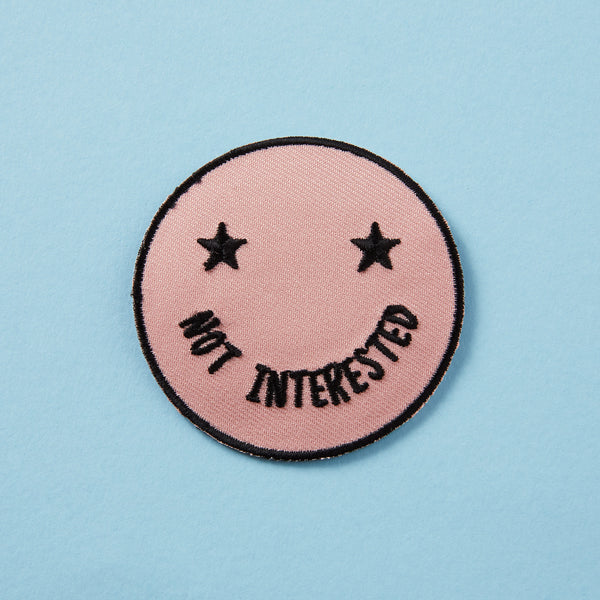 Not Interested Sassy Face Embroidered Iron On Patch