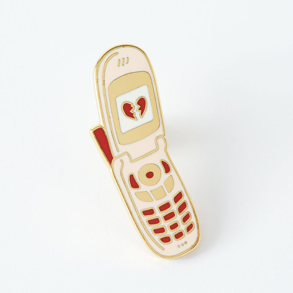 Broken Heart Phone Enamel Pin