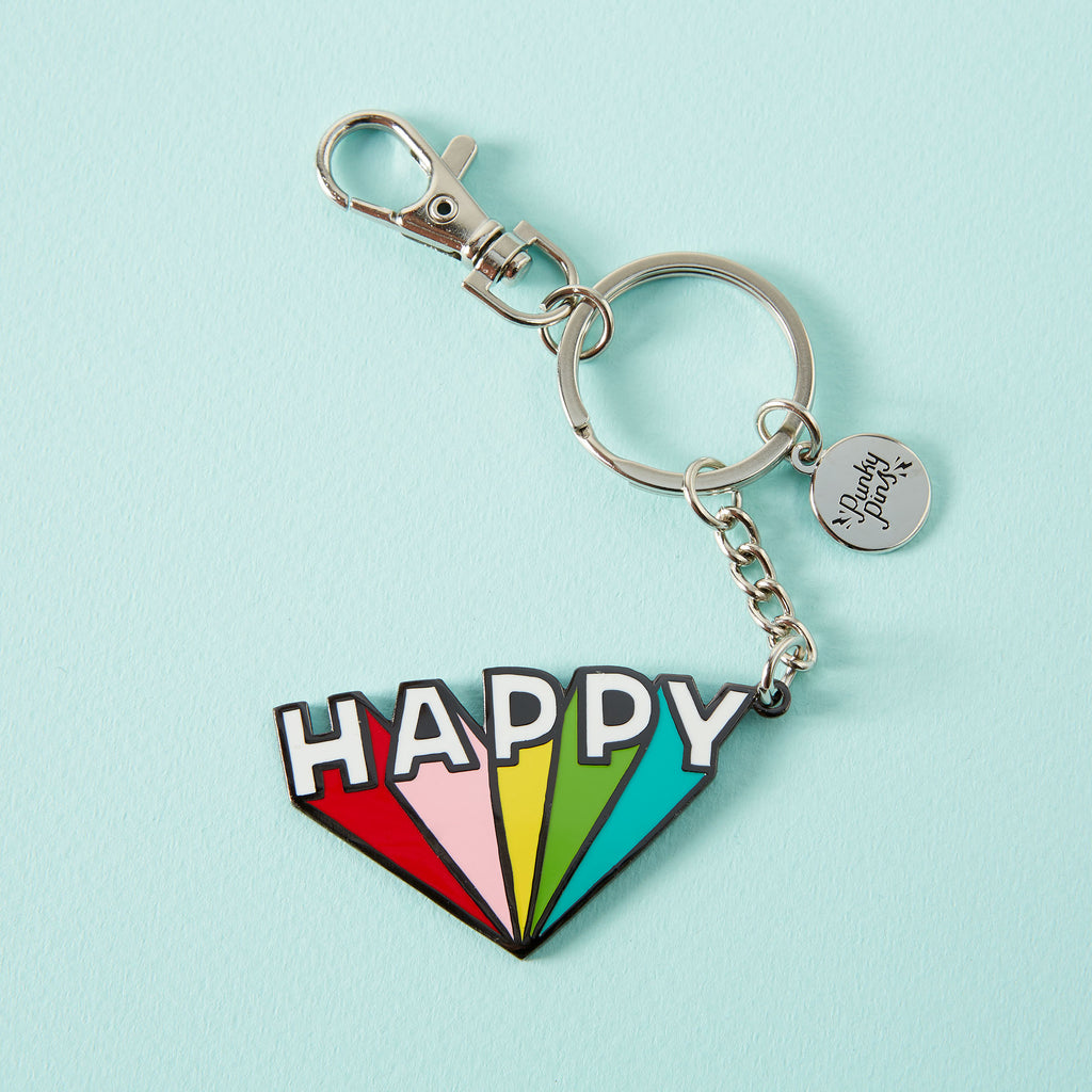 Happy Enamel Keyring