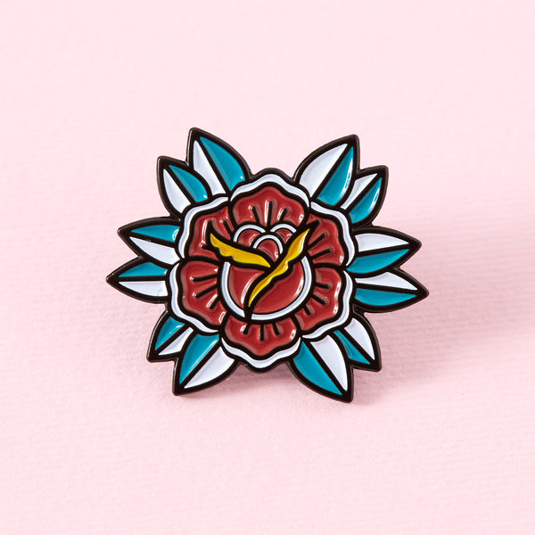 Red Flower Tattoo Inspired Enamel Pin