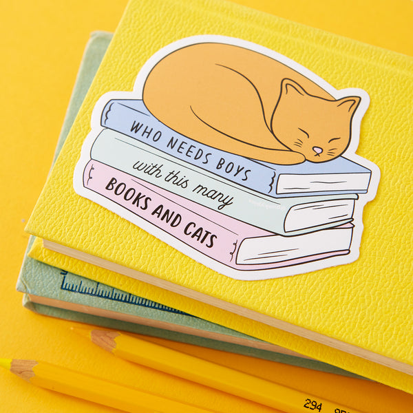Who Needs Boys with this many Books and Cats Large Vinyl Sticker