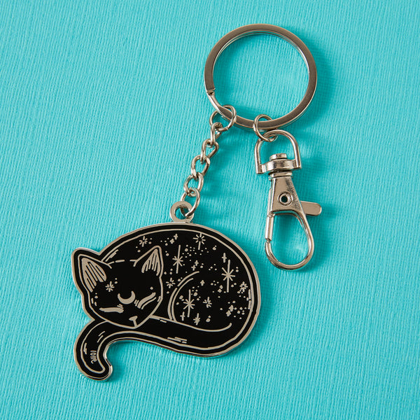 Mystical Cat Enamel Keyring